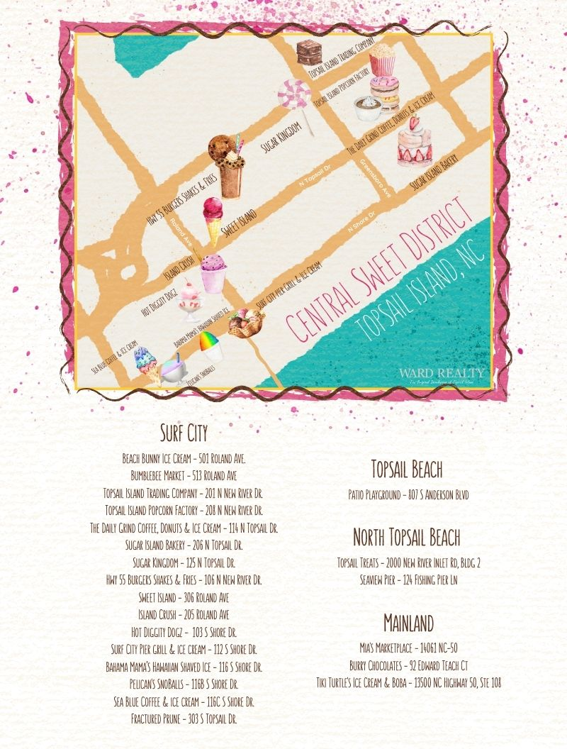 Topsail Island Ice Cream and Bakery Printable Map