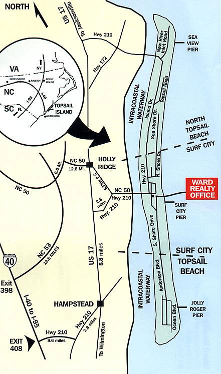 Topsail Island Map Vacation Rentals Real Estate